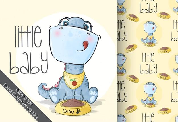 Cute Baby Dino Zwierząt Z Bezszwowym Wzorem Premium Wektorów