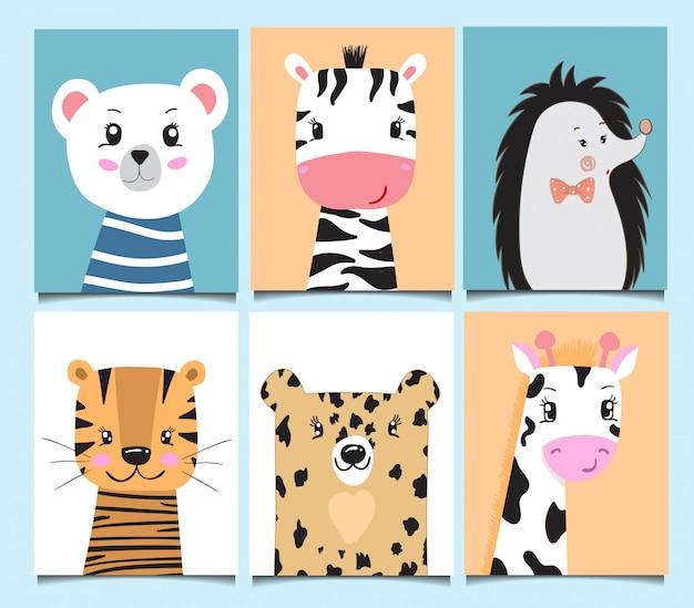 Cute Baby Karty Zwierząt Kreskówki Ręcznie Rysowane Urodziny Premium Wektorów