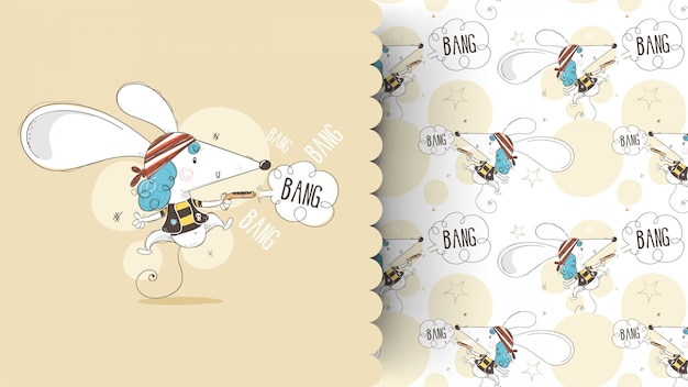 Cute Baby Myszy W Pirackim Kolorze Kreskówka Wyciągnąć Rękę. Może Być Stosowany Do Nadruku I Wzoru Koszulki Niemowlęcej Premium Wektorów