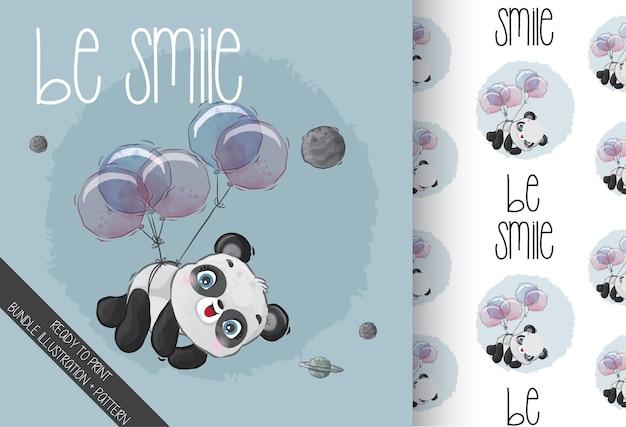 Cute Baby Panda Szczęśliwy Latający Z Balonem Wzór Premium Wektorów