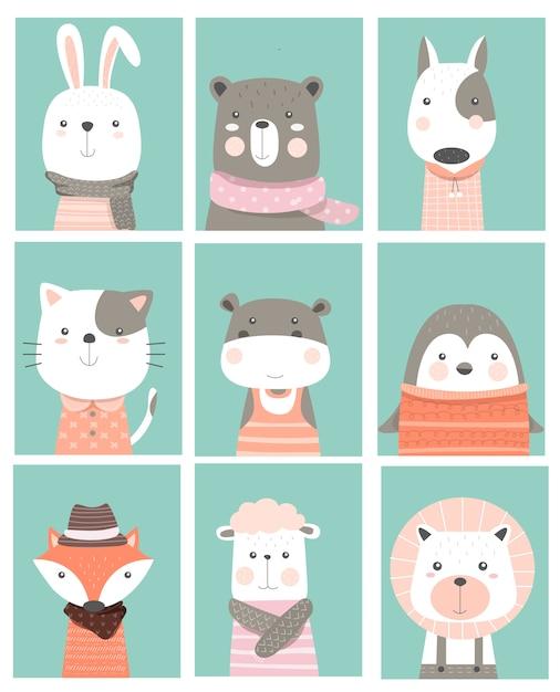 Cute baby zwierząt karta kreskówka ręcznie rysowane stylu Premium Wektorów