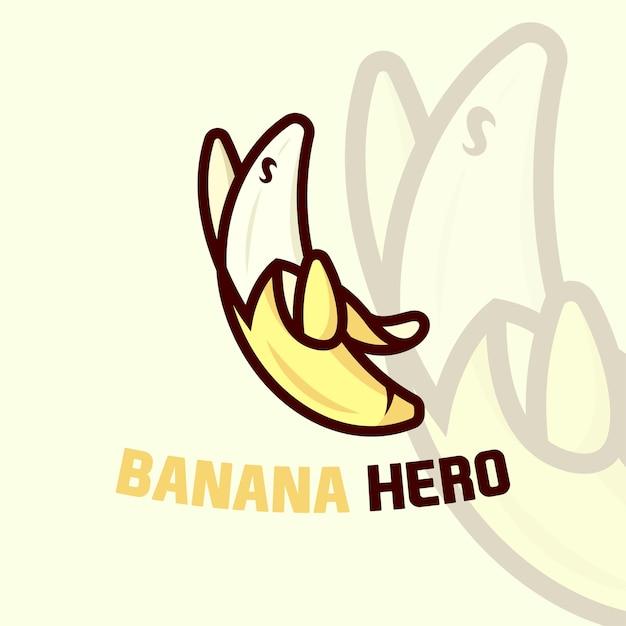 Cute Banana Cartoon Logo W Pozycji Super Hero Premium Wektorów