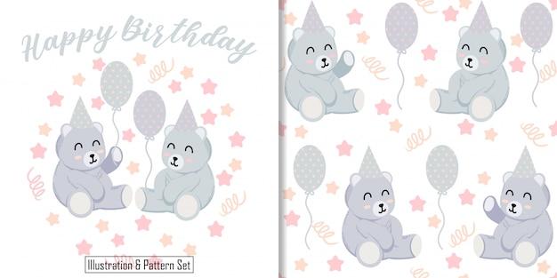 Cute bear ilustracja karta zwierząt z misiem zestaw bez szwu deseń Premium Wektorów