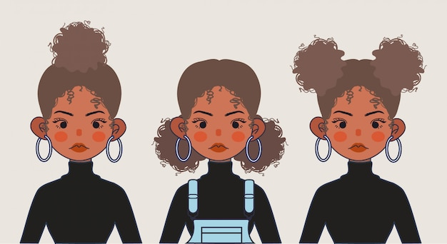 Cute Black Girl Ilustracja. Czarna Dziewczyna Fryzury Na Na Białym Tle. Premium Wektorów