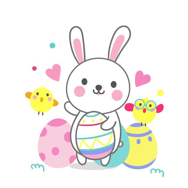 Cute bunny cartoon z pisanki i kurczaka kreskówek Premium Wektorów