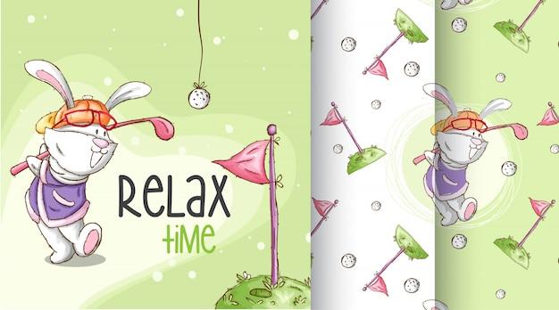 Cute bunny wzór ilustracji Premium Wektorów