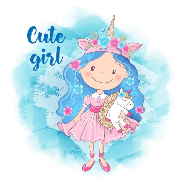 Cute cartoon girl i unicorn Premium Wektorów