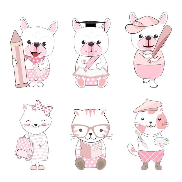 Cute cartoon zwierząt psów i kotów Premium Wektorów