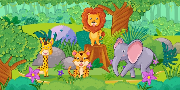 Cute cartoon zwierząt w dżungli. zestaw zwierząt. Premium Wektorów