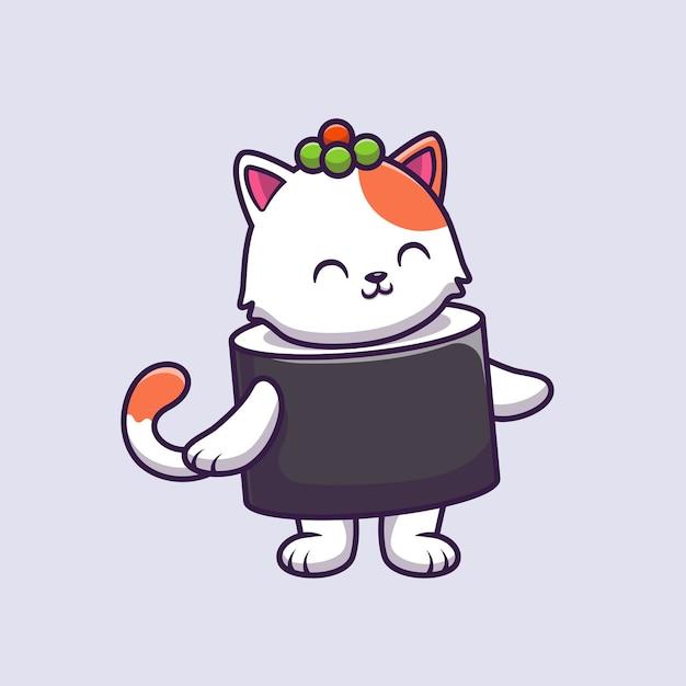 Cute Cat Sushi łosoś Kreskówka Ilustracja Wektorowa. Darmowych Wektorów