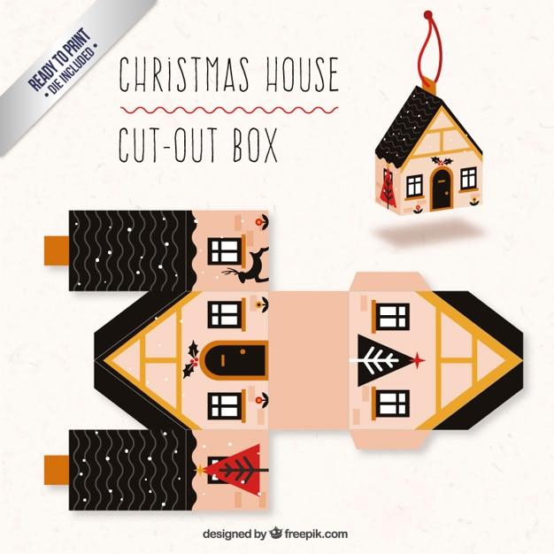 Cute christmas dom okno Darmowych Wektorów