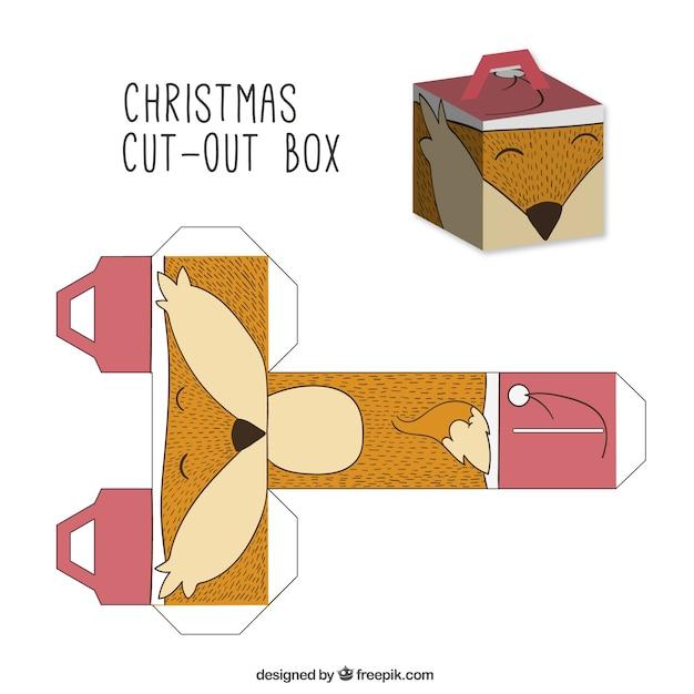 Cute christmas lisa wyciąć okno Darmowych Wektorów