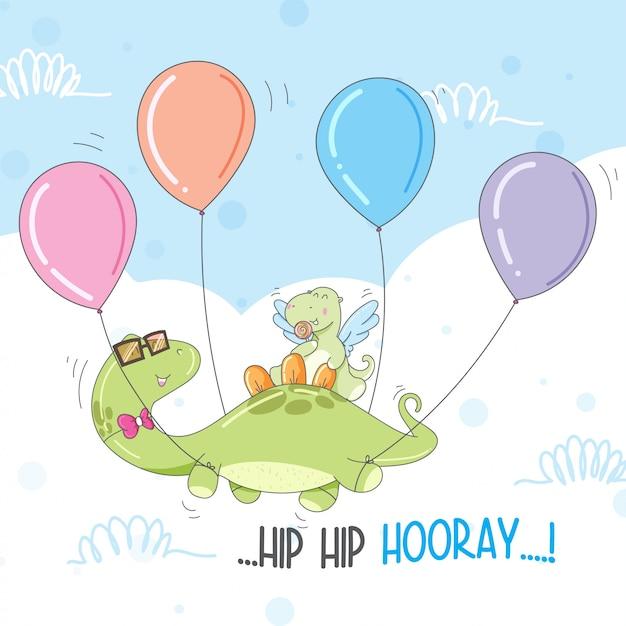 Cute dinozaur leci z balonem darmo Premium Wektorów