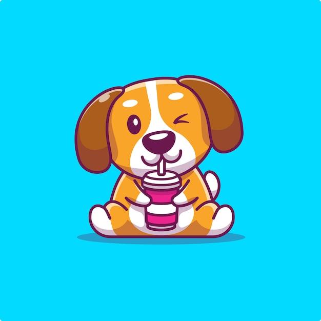 Cute Dog Drink Animal Premium Wektorów