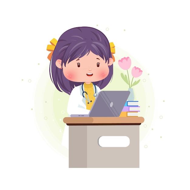 Cute Doktor Pracy Przed Laptopem Pracy Premium Wektorów
