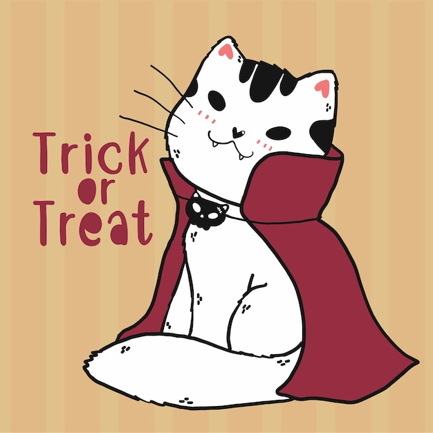 Cute Doodle Cat Vampire Custume Trick Or Treat Halloween Art, Pomysł Na Kartkę Z życzeniami, Karta Do Druku, Grafika ścienna, Sublimacja, Naklejka Cricut Premium Wektorów