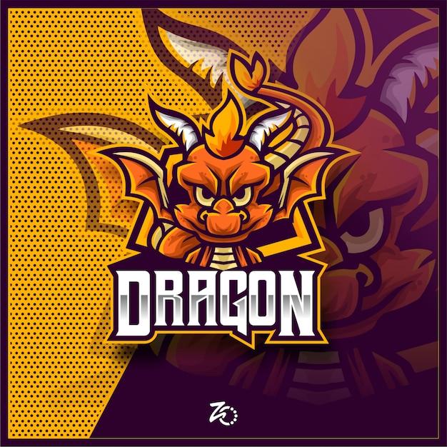 Cute Dragon Baby Gaming Esports Premium Wektorów