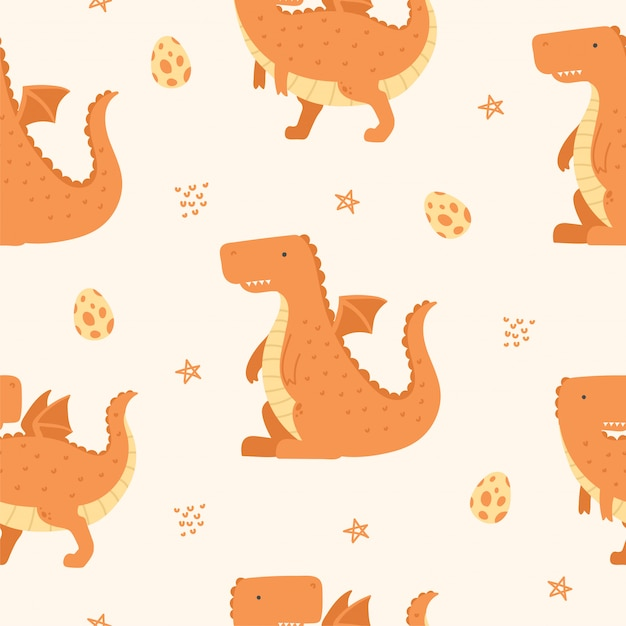 Cute Dragon Seamless Pattern Na Tapetę Premium Wektorów