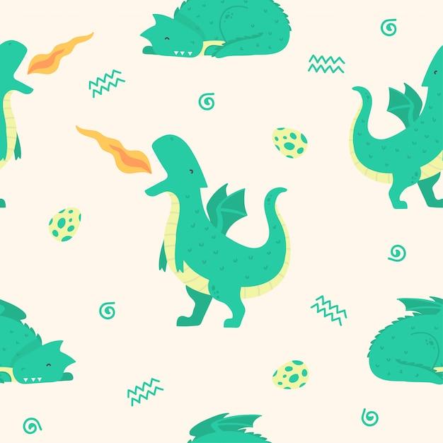 Cute Dragon Seamless Pattern Na Tapetę Premium Wektorów