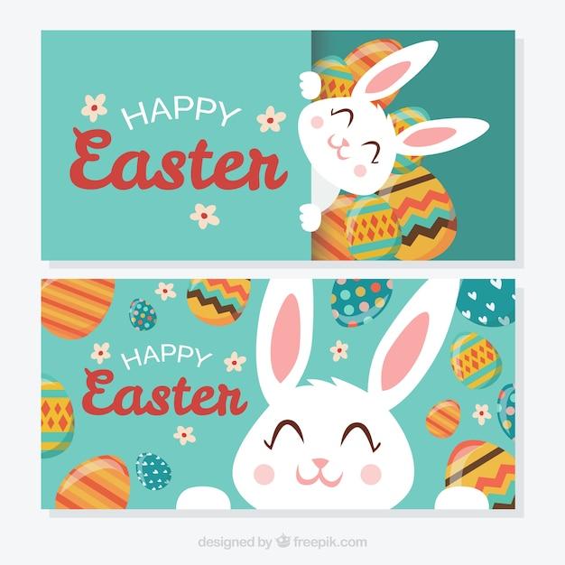 Cute Easter Bunny Szczęśliwy Banery Darmowych Wektorów