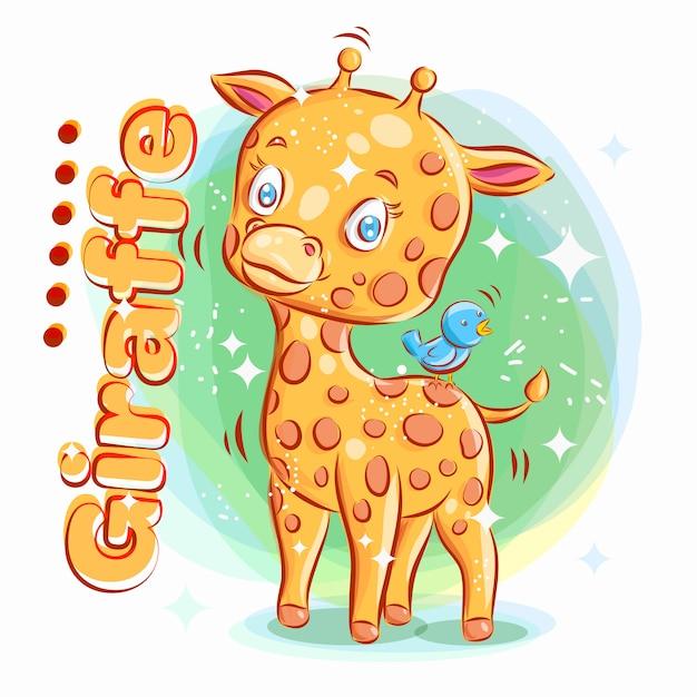 Cute Giraffe Zagraj Z Blue Bird. Ilustracja Kolorowy Kreskówka. Premium Wektorów