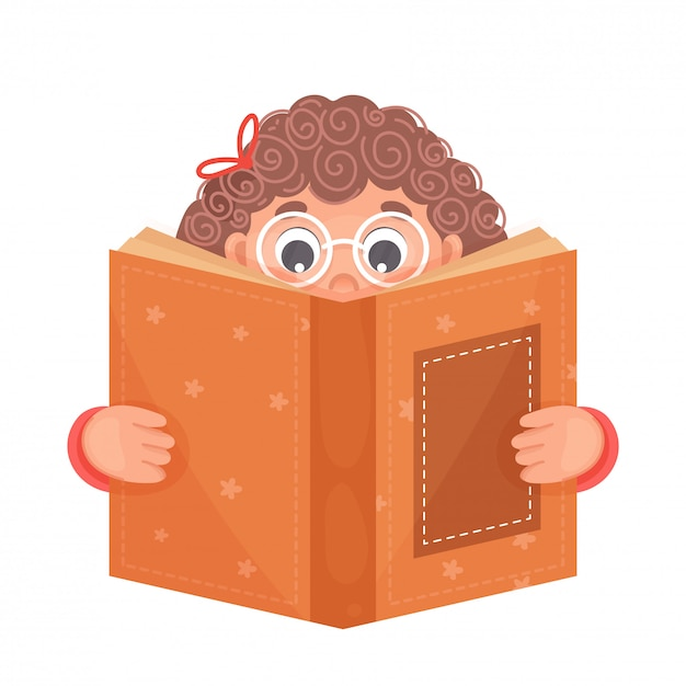 Cute Girl Czyta Książkę Na Białym Tle Premium Wektorów