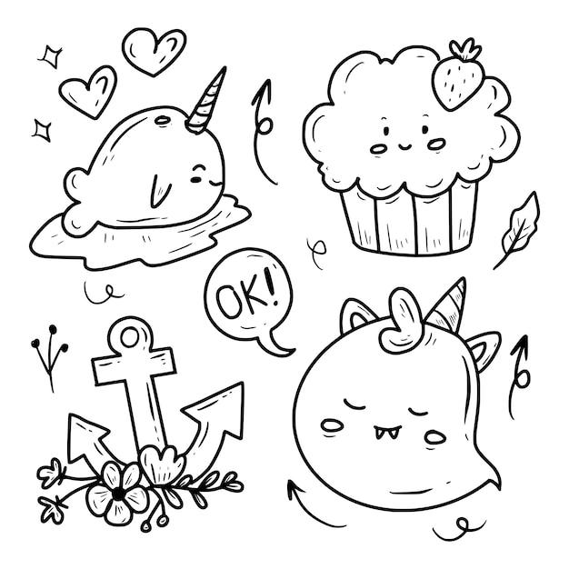 Cute Halloween Cartoon Naklejki Doodle Kolekcja Rysunków Premium Wektorów