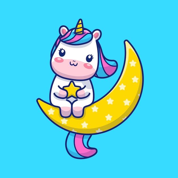 Cute Jednorożca Na Księżycu Ilustracji. Postać Z Kreskówki Maskotka Jednorożca. Koncepcja Zwierząt Na Białym Tle Premium Wektorów