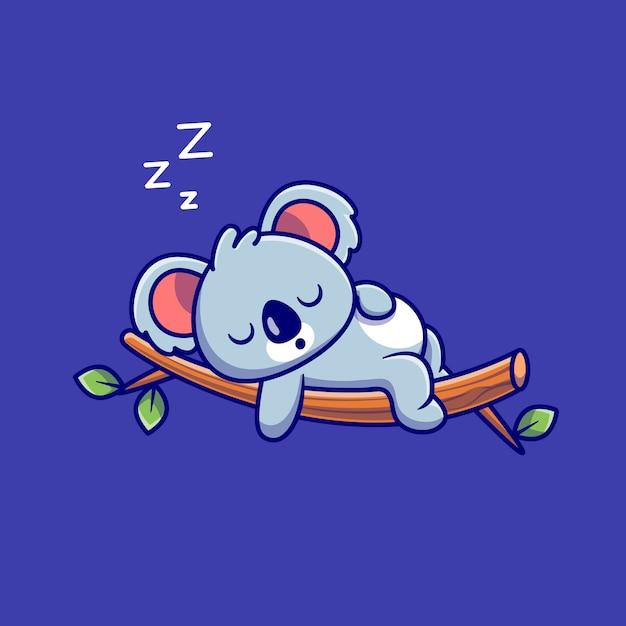 Cute Koala Spanie Na Drzewie Cartoon. Koncepcja Ikona Natura Zwierząt Na Białym Tle. Płaski Styl Kreskówki Darmowych Wektorów