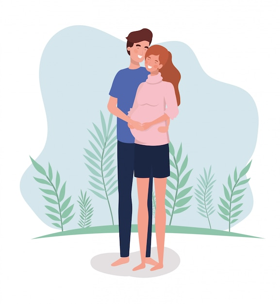 Cute Kochanków Para Znaków Ciążowych W Krajobrazie Darmowych Wektorów