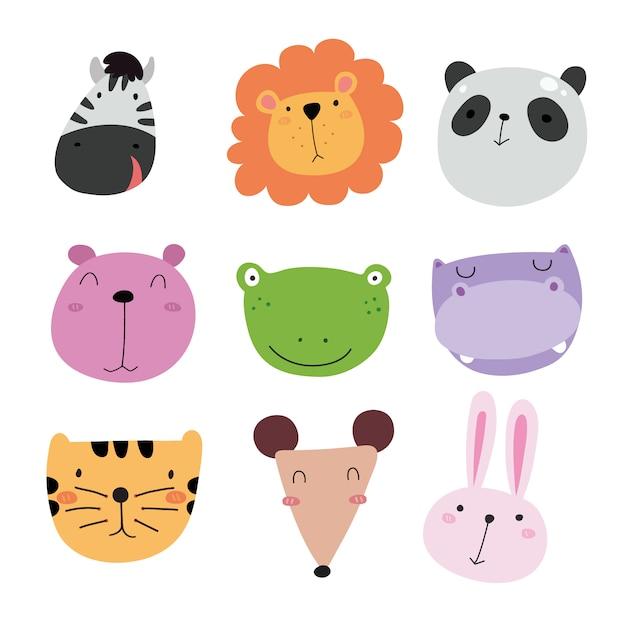Cute kolekcji ikon zwierząt Darmowych Wektorów