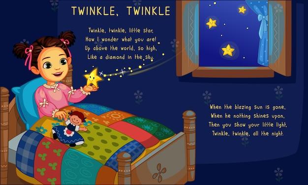 Cute Little Girl W łóżku Z Migoczącą Gwiazdą Premium Wektorów