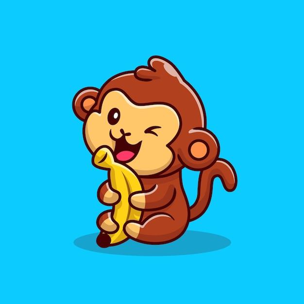 Cute Monkey Gospodarstwa Banan Ilustracja Kreskówka. Koncepcja Ikona żywności Dla Zwierząt Premium Wektorów