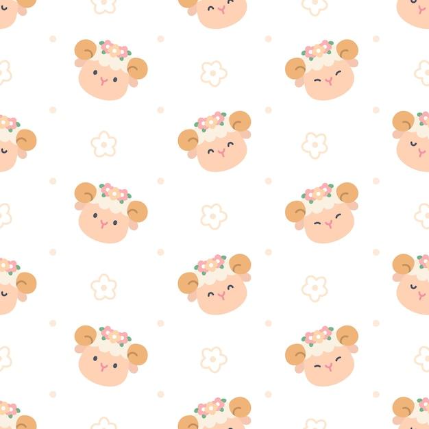 Cute Owiec Z Koroną Kwiatową Bez Szwu Powtarzalny Wzór, Tapeta, ładny Wzór Premium Wektorów