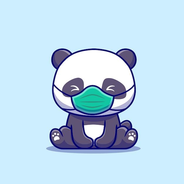Cute Panda Siedzi I Noszenie Maski Ikona Ilustracja Kreskówka. Koncepcja Ikona Zdrowych Zwierząt Na Białym Tle. Płaski Styl Kreskówki Darmowych Wektorów