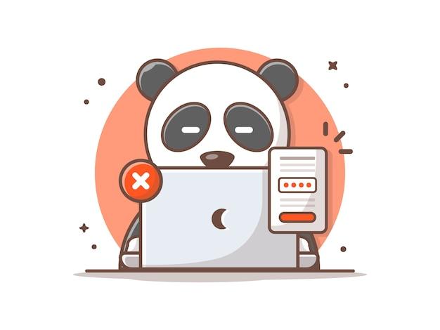 Cute Panda Zapomniałem Hasła Vector Icon Illustration. Premium Wektorów