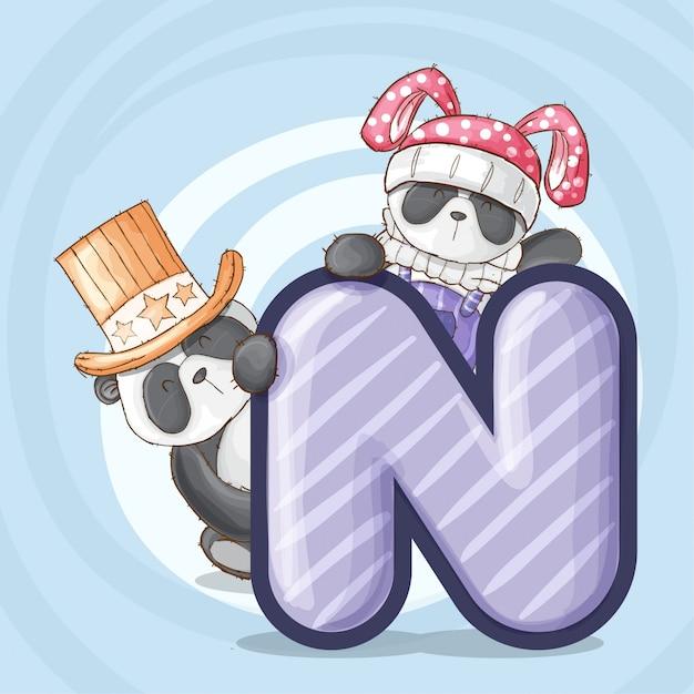 Cute Panda Zwierząt List Alfabet Wektor Premium Wektorów