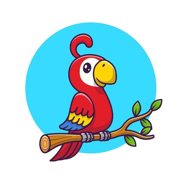 Cute Papuga Ptak Na Gałęzi Kreskówki. Koncepcja Ikona Dzikiej Przyrody Zwierząt Na Białym Tle. Płaski Styl Kreskówki Darmowych Wektorów
