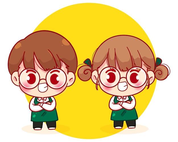 Cute Para Barista W Stojący Fartuch Z Rękoma Postać Z Kreskówki Ilustracja Premium Wektorów