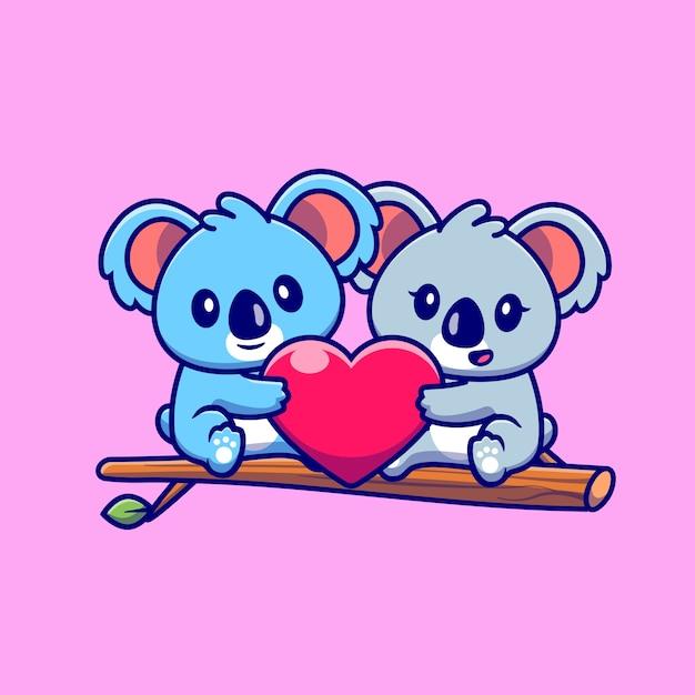 Cute Para Koala, Trzymając Serce Na Drzewie Kreskówka Ikona Ilustracja. Koncepcja Ikona Para Zwierząt Na Białym Tle. Płaski Styl Kreskówki Darmowych Wektorów