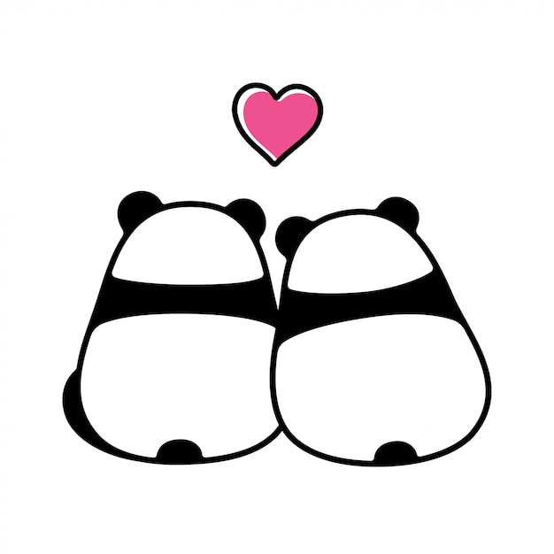 Cute para panda w miłości Premium Wektorów