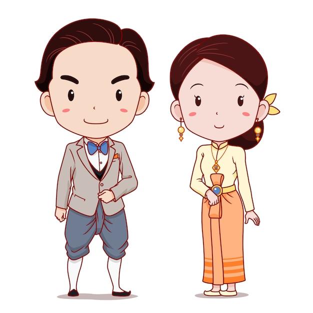 Cute para postaci z kreskówek w stosowanych tradycyjnych strojach tajskich. Premium Wektorów