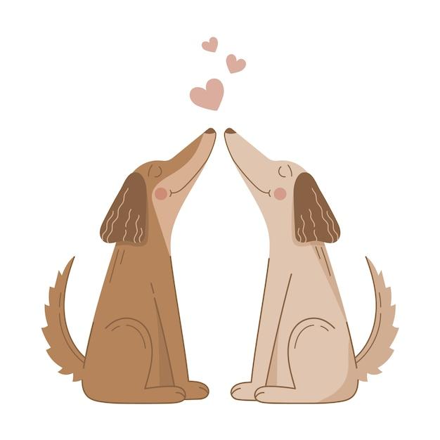 Cute Para Psów Walentynki Darmowych Wektorów