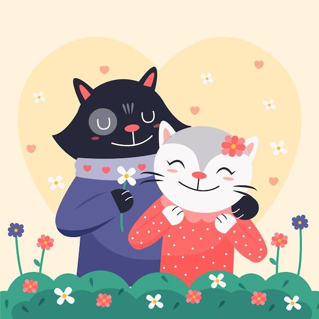 Cute Para Zwierząt Walentynki Darmowych Wektorów