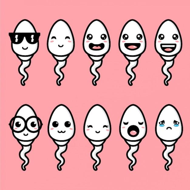 Cute Spermy Maskotka Wektor Wzór Premium Wektorów