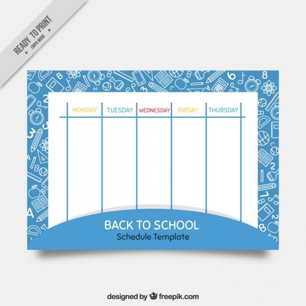 Cute szkoły kalendarz z rysunkami Darmowych Wektorów
