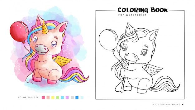 Cute Unicorn Playing Balloon Coloring Coloring Book Premium Wektorów