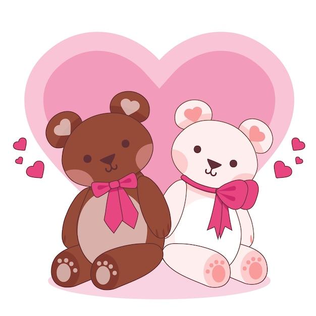 Cute Walentynki Para Zwierząt Z Niedźwiedziami Darmowych Wektorów