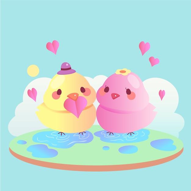 Cute Walentynki Zwierząt Para Z Ptakami Darmowych Wektorów