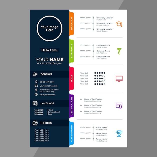 Cv / wznów projekt ikonami linii Premium Wektorów